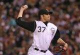 Rockies pitcher Josh Fog pitching in the top of the 4th inning, Monday evening, August 6, 2007, at...