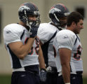Bronco TE Tony Scheffler # 88, left showed up for a few drills early in today's practice and then...