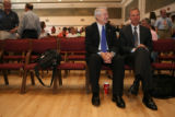 CU President Hank Brown, sits down next to CU- Boulder chancellor Bud Peterson as they wait the CU...