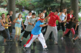 B-boy Splinter, aka Anthony Luis (cq), from Break!, a hip-hop dance troupe from New York City,...