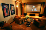 (DENVER, COLO. - Shot Sept. 8, 2004) The home theater of the 'Bella Capri' home by Penmen Homes in...
