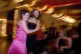 DLM0618  Camper Beth Gomerac, 23, left, dances with counselor in training Joyce Keeley, 16, during...