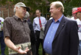 (DENVER, Colo., September 7, 2004) Jim Russell (left) talks with Jim Rassmann (right) after a...