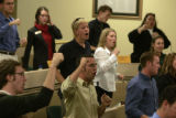 Ft. Collins, Colo., photo taken September 21, 2004- CSU Student Senate finish their meeting in the...