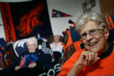 Sporting her favorite Broncos gear, Sister Marie deLourdes Falk (cq) and other nuns at Exempla...