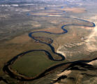 "DM2238   An aerial view of a section of the Yampa River known as the ""goose neck"" where..."