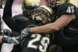 0854 0850 University of Colorado #29 Cha'pelle Brown celebrates an interception in the fourth...