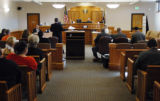 Courtroom 3A at the Larimer County Courthouse during a hearing for Tim Masters (cq) in Ft....