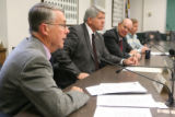 Representative Glen Vaad, R-Mead (left) and other Republican leaders Representative Don Marostica,...