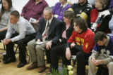The family of David Rossiter, L-R, Charlie Rossiter, father holding his son's letter jacket, Erin,...