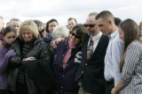 Friends and family pay their final respects to David Rance Rossiter  at the Sheridan Cemetery in...