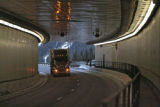 Trucks pass through the Eisenhower Tunnel, Monday evening, November 12, 2007. CDOT is considering...