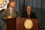 Mayor John Hickenlooper, speaks to reporters Wednesday Nov. 14, 2007 as executive of Law...