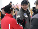 Bode Miller, right congratulates 2nd place winner Jean- Baptiste Grange FRA  after the finish...