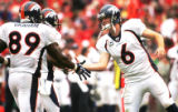 [JOE1145]  Denver Broncos quarterback Jay Cutler (6) congratulates Broncos tight end Daniel Graham...