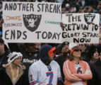 [JOE872]  Denver Broncos fans Ronie Messer (cq), left, and Jaime Sietz, right, (cq) watch the...