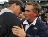 [JOE748]  Denver Broncos coach Mike Shanahan, right, talks to Oakland Raiders coach Lane Kiffin...