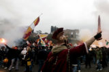 GB102 - AS Roma's soccer team supporters wave flags as they demonstrate in Rome's  Circus Maximus...