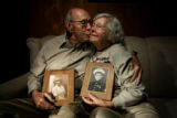 (from left) Lew Weltzer (cq) and his wife Lyna Weltzer (cq) have been married for 61 years.  They...