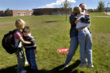 (9/23/2004.   Littleton, Colorado)    Tiffany Pagone serves as a crossing guard once a week at her...