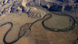 "DM1568   An aerial view of a section of the Yampa River known as the ""goose neck"" where..."