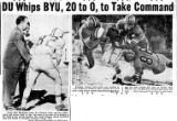 A Rocky Mountain News clipping featuring the outcome of the Denver University-BYU football game in...