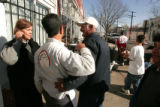 Rosa Linda and Virgil Aguirre , owners of Rosa Linda's in Denver, are thanked by man who enjoyed a...
