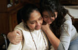 Edith Mack is hugged by her daughter Jennifer , right,  in her Golden home November 21, 2007, ...