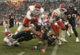 1285 Denver Broncos Brandon Marshall gains a few yards against the  Kansas City Chiefs in the...