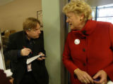 M.E. Sprengelmeyer, Rocky Mountain News Des Moines reporter interviews Ellen Malcolm, the head of...