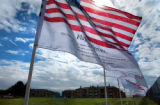[Northglenn, CO - Shot on: 3/31/02]  Volunteers will be setting up more than 4,100 U.S. flags ...