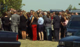 (BEATRICE, Nebraska, September10, 2004) The overflow crowd at the cemetery outside the tent....