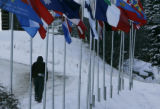 Flags of the countries participating in the World Cup races wave in the wind at  the base of the ...