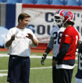 FOR SPORTS , ACTION OF  BUFFALO BILLS COVERAGE- Bills Steve Fairchild talks to JP LOsman and...