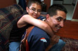 (LAKEWOOD, Colo., May 20, 2004)  Larry and Frankie,10, Martinez are father and son.  Frankie won...