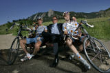 From left, Will Frischkorn (cq), of Boulder, Colo., Jonathan Vaughters (cq) of Denver, Colo., and...