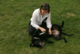 Sunni Rodgers (cq), of Denver, plays with Rita, a three-year-old black lab, on Monday in Denver,...