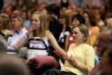 Hallie Davis (cq), left - 18, and her mom Debbie Davis (cq), attend a ceremony at Craig Hospital,...