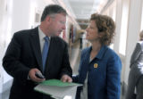 Rep. Doug Lamborn, R-Colo., left, confers about schedules with wife Jeanie before he goes to the...