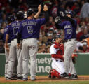 (061407 Boston, MA)  Red Sox Vs Colorado Rockies at Fenway Park. Garrett Atkins celebrates with...