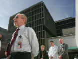 University Hospital CEO Bruce Schroeffel speaks outside of the Hospital after the hospital...