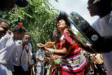 Dancers, from a mix of East African countries dance to traditional music as part of the Sabaree...
