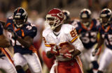 (DENVER, CO., SEPTEMBER 12, 2004)  Kansas City's Dante Hall returns a kickoff for 17 yards to the...