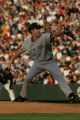 (JOE-a-025) - New York Yankees pitcher Mike Mussina delivers a pitch in the bottom of the second...