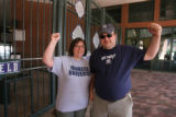 Yankees fans, Joanna and Frank Walsh, hang around Coors Field, Tuesday morning, June 19, 2007,...