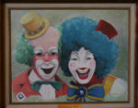 Item # 485-A, The Clowns, Harpo and Meeco, signed by D Johnson, on display before the Presidential...