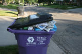 Sixty-five gallon recycling containers line the streets in the Crestmoor Park neighborhood,...