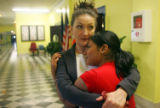 (NYT17) NEW YORK -- June 23, 2007 -- NY-HS-GRADS-3 -- Cristal Pimentel with Carol Smith, an...