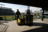John Legnard (cq) delivers  a load of SandLot beer, made specially for the World Series, Coors...