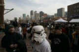 [153}  Colorado Rockies fan, Scott Magerfleisch, 36, of Westminster, wears his Star Wars Storm...
